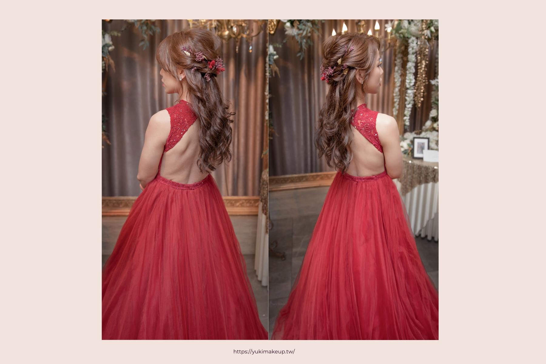乾燥花造型|搭配紅色禮服顯年輕又不老氣的乾燥花造型