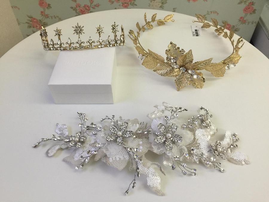 新娘頭飾│古典又浪漫的金色皇冠、蕾絲髮飾