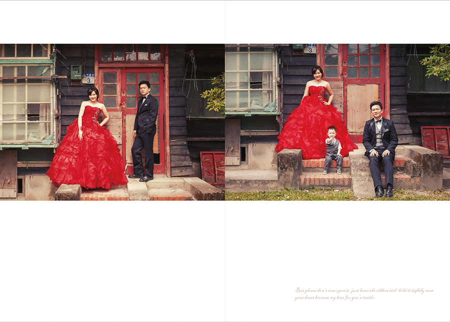 新秘Yuki│花蓮婚紗│紅色禮服│新娘包頭│婚紗照│全家福