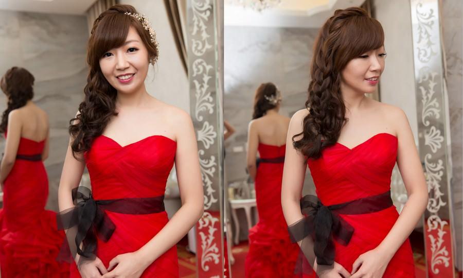 新秘Yuki│台北新秘│紅色禮服│側邊編髮│新娘髮型