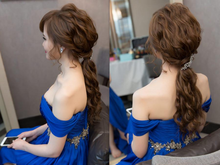 新秘Yuki│台北新秘│新秘推薦│藍色禮服│深色禮服│低馬尾│韓系│新娘髮型
