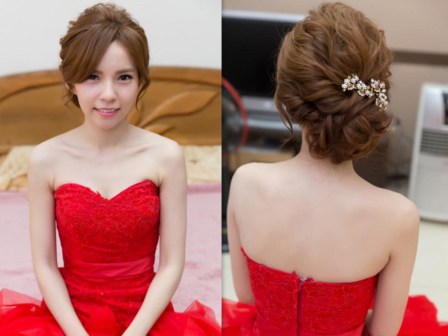 新秘Yuki│新秘推薦│紅色禮服│盤髮│新娘髮型|新娘造型|蓬鬆感盤髮|線條感盤髮