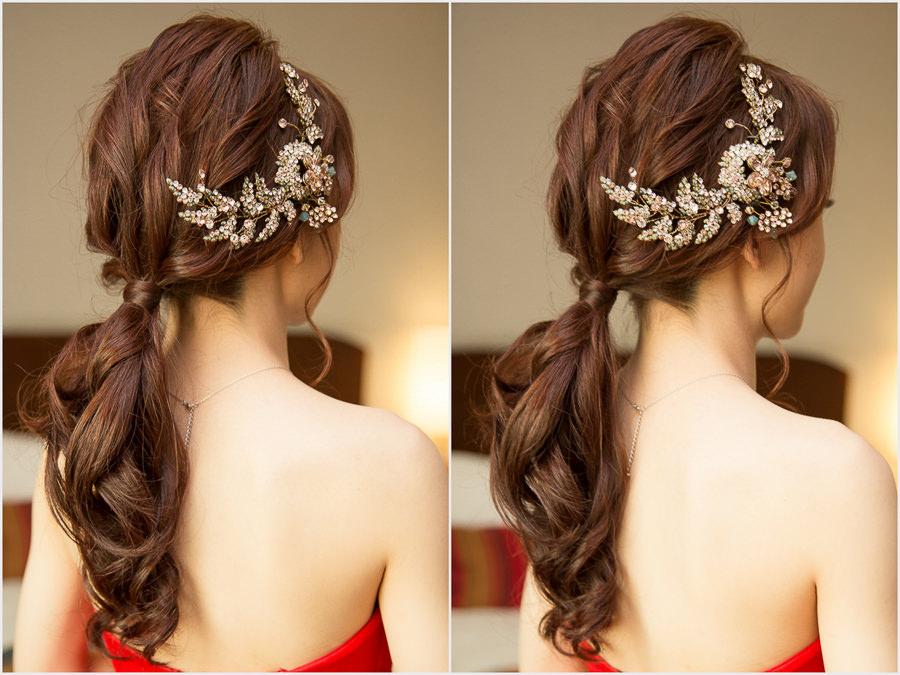 新秘Yuki│新秘推薦│紅色禮服│韓系低馬尾│韓系│新娘髮型|新娘造型|華麗風新娘|婚宴造型