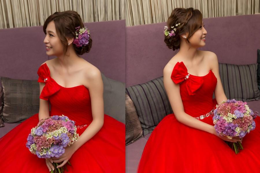 新秘Yuki│新秘推薦│紅色禮服│盤髮│鮮花造型│新娘髮型|新娘造型|婚宴造型|