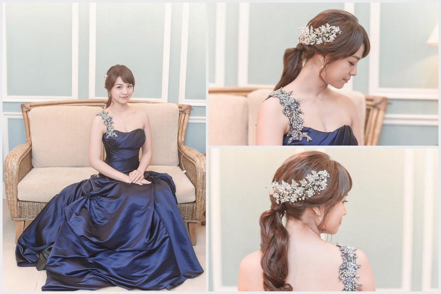 新秘Yuki│新秘推薦│藍色禮服│深色禮服│低馬尾│韓系│新娘髮型