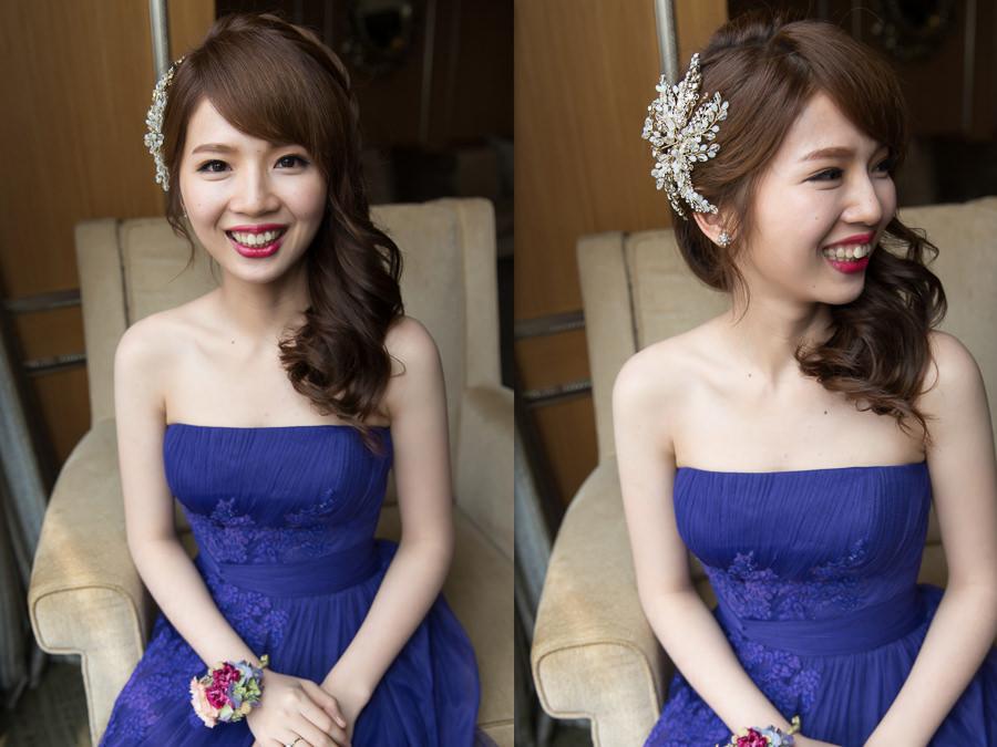 新秘Yuki│新秘推薦│藍色禮服│深色禮服│側邊髮│紅唇│新娘髮型