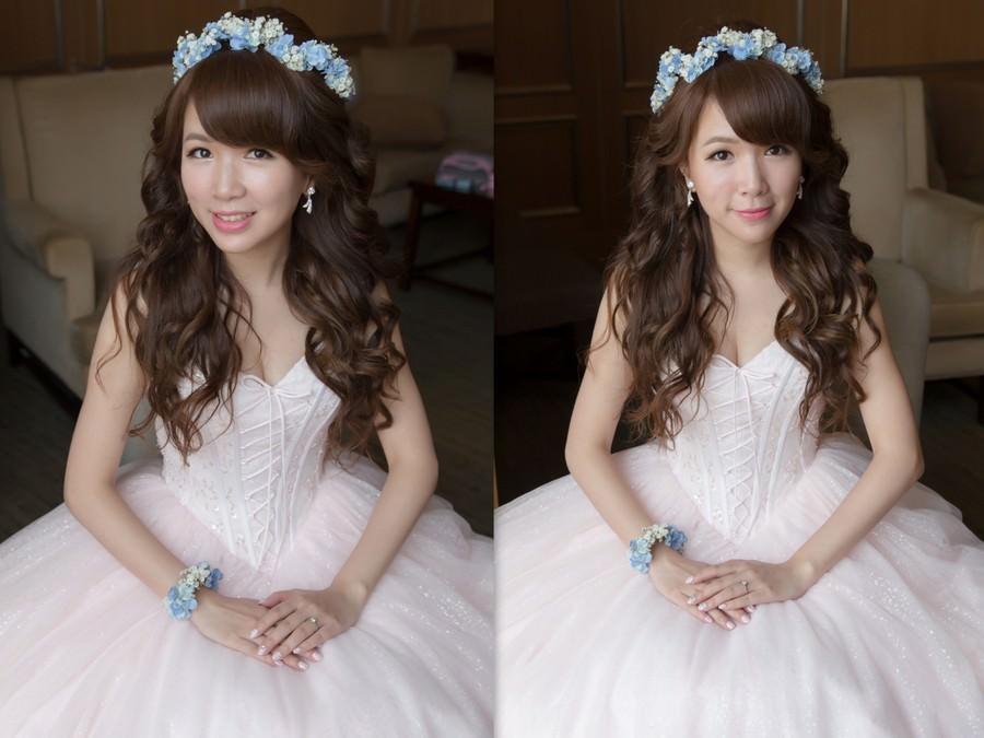 新秘Yuki│新秘推薦│粉紅色禮服│長捲髮│鮮花造型│花環│新娘髮型