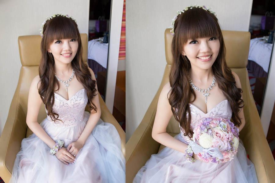 新秘Yuki│新秘推薦│紫色禮服│長捲髮│鮮花造型│花環│小碎花│新娘髮型