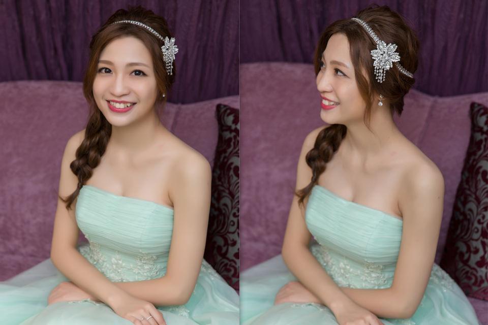 新秘Yuki│新秘推薦│藍色禮服│側邊編髮│魚骨辮│新娘髮型