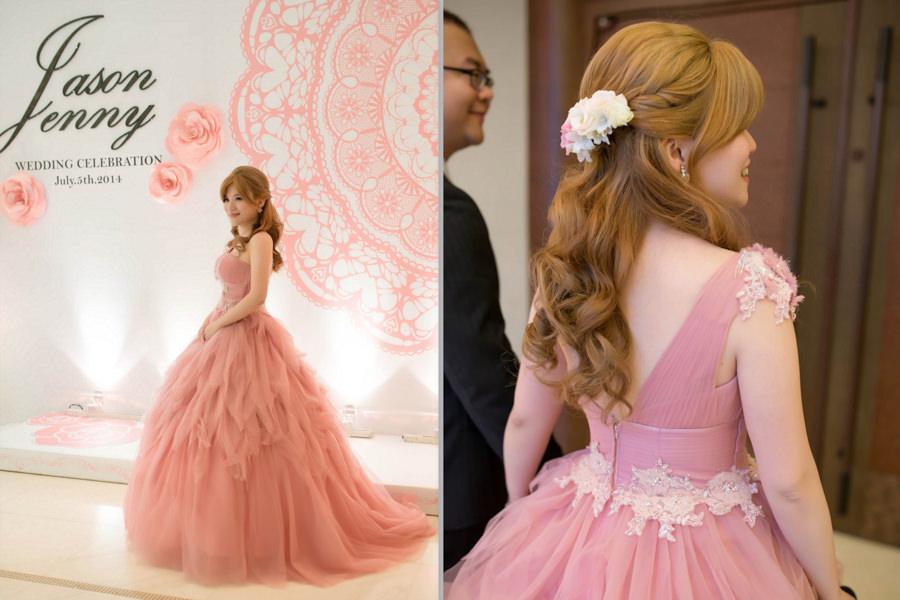 新秘Yuki│新秘推薦│粉紅色禮服│公主頭│鮮花造型│新娘髮型