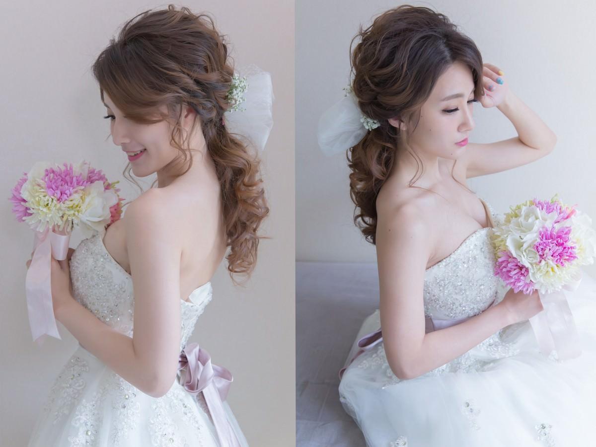 新秘Yuki│新秘推薦│白紗│低馬尾│鮮花造型│蝴蝶結│日系│新娘髮型
