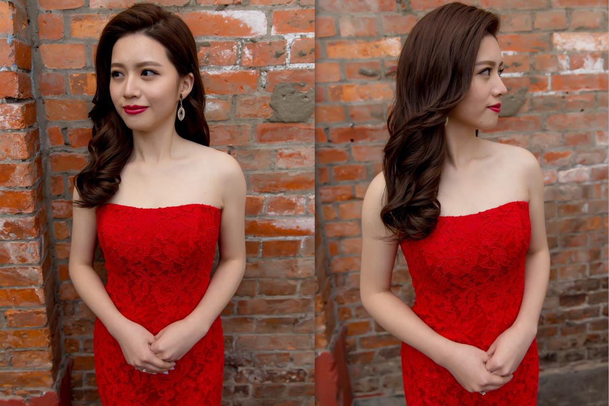 台北新秘│新秘Yuki│紅色禮服│魚尾禮服│長捲髮│紅唇│新娘造型│新娘髮型