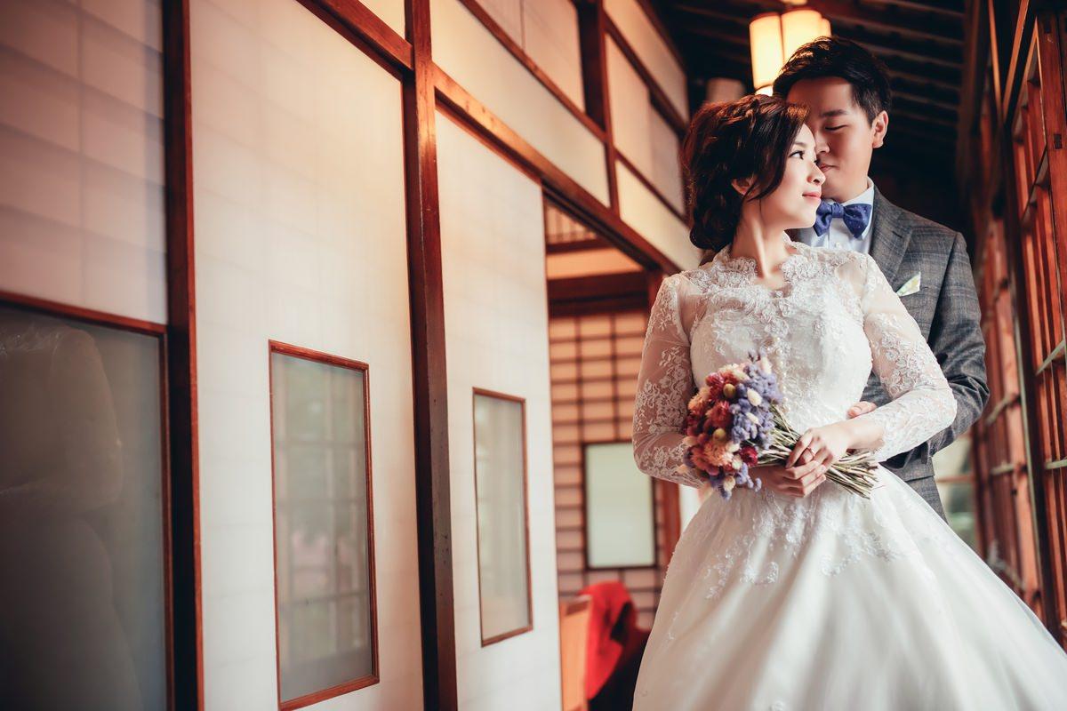 新秘Yuki│台北婚紗│白紗造型│新娘包頭│蕾絲罩衫│婚紗照│北投文物館