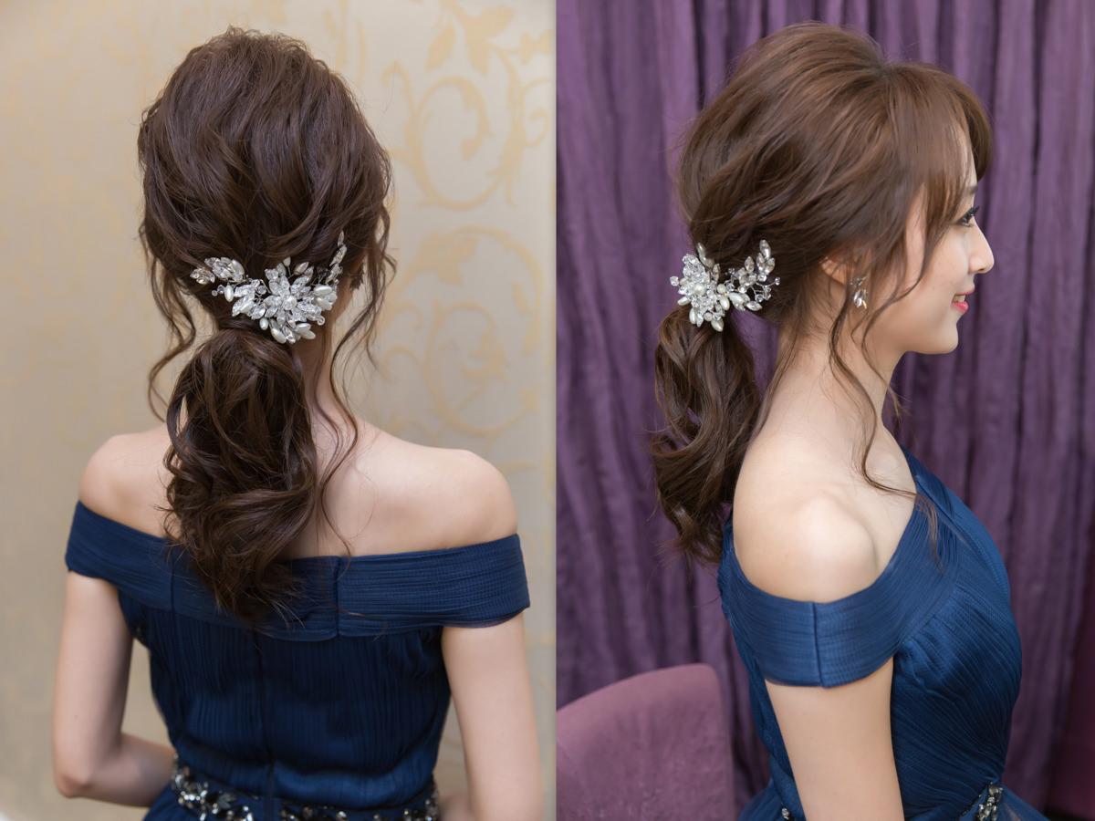 台北新秘│新秘Yuki│新秘推薦│藍色禮服│低馬尾│韓系│新娘髮型│low ponytail hairstyles