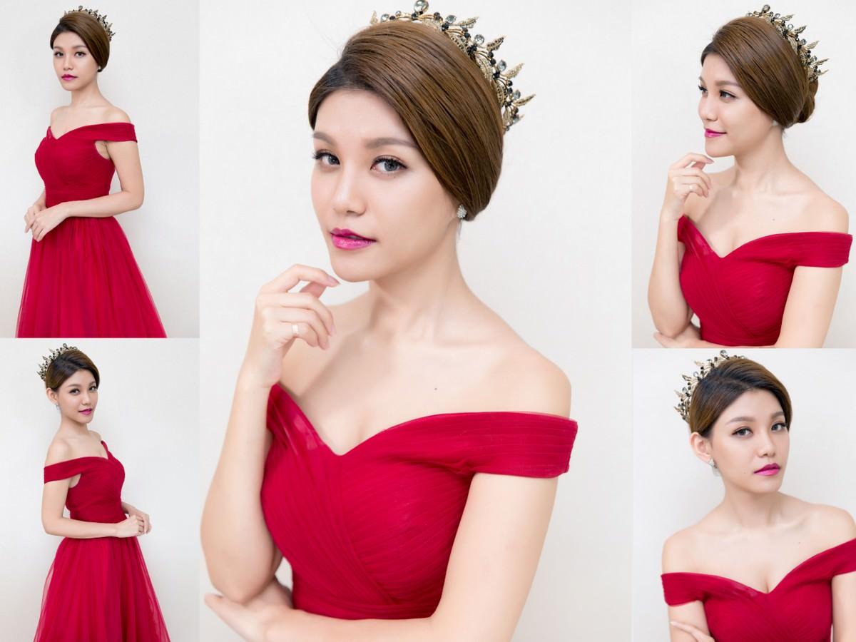 新秘Yuki│北部新秘│新秘推薦│紅色禮服│盤髮造型│皇冠造型│bun hairstyles with tiara|新娘髮型|新娘造型|婚宴造型